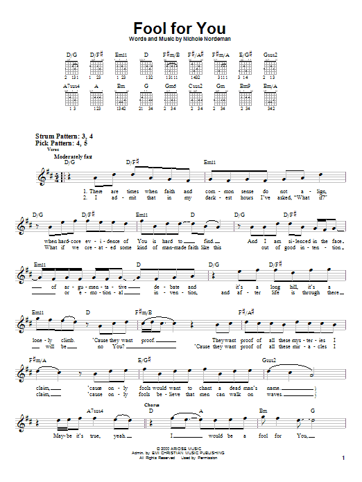 Nichole Nordeman Fool For You sheet music notes and chords. Download Printable PDF.