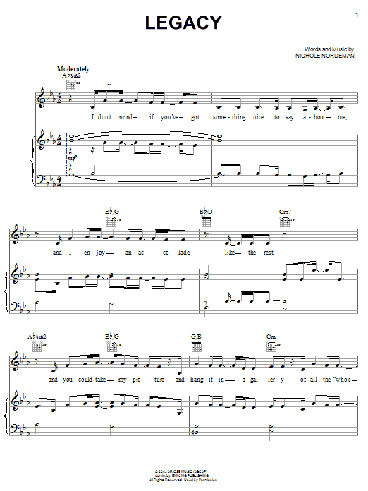 Nichole Nordeman Legacy sheet music notes and chords. Download Printable PDF.