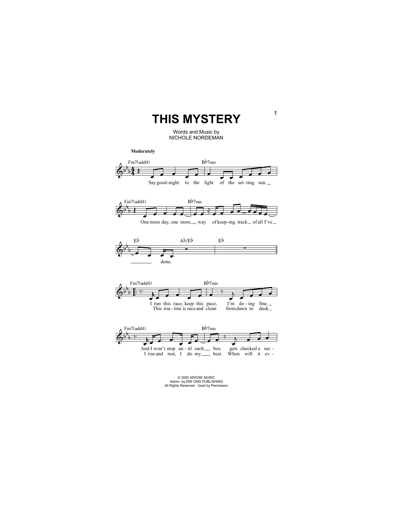 Nichole Nordeman This Mystery sheet music notes and chords. Download Printable PDF.