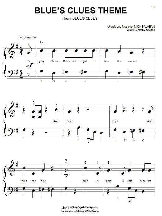 Nick Balaban Blue's Clues Theme sheet music notes and chords. Download Printable PDF.