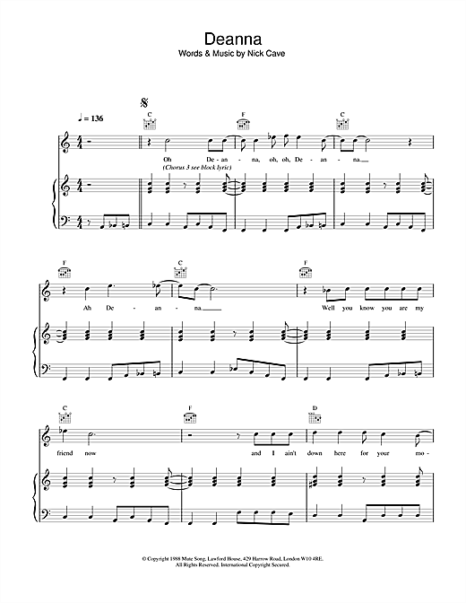Nick Cave Deanna sheet music notes and chords