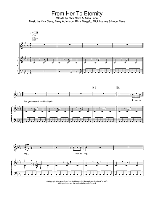 Nick Cave From Her To Eternity sheet music notes and chords. Download Printable PDF.