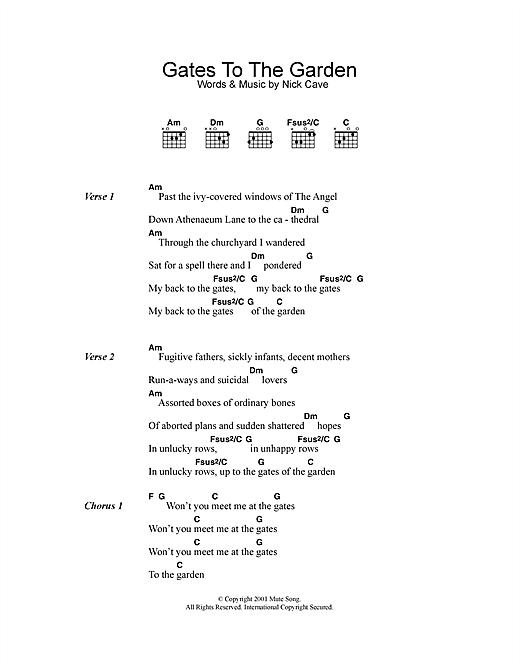 Nick Cave Gates To The Garden Sheet Music Pdf Notes Chords Rock Score Guitar Chords Lyrics Download Printable Sku 113790
