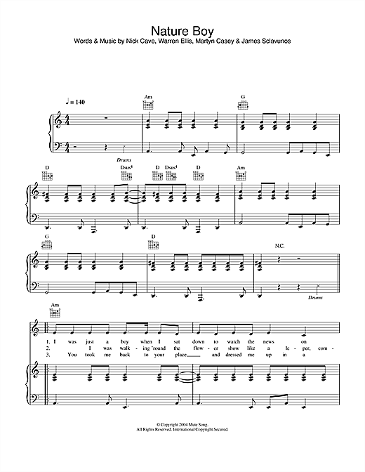 Nick Cave Nature Boy Sheet Music Notes Chords Download Printable Piano Vocal Guitar Sku 29685