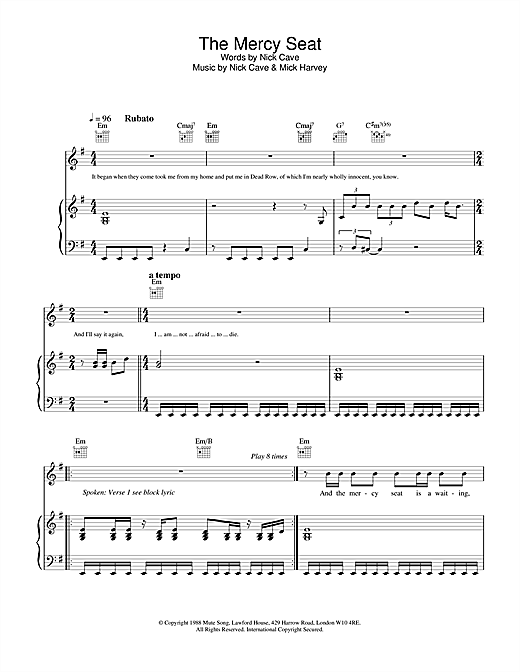 Nick Cave The Mercy Seat sheet music notes and chords