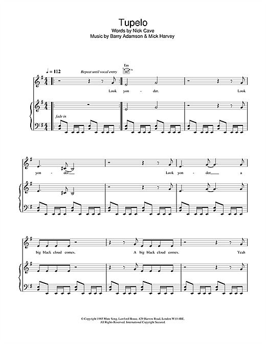 Nick Cave Tupelo sheet music notes and chords. Download Printable PDF.
