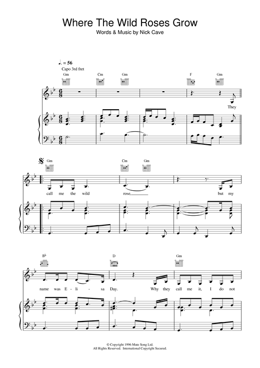 Nick Cave Where The Wild Roses Grow sheet music notes and chords