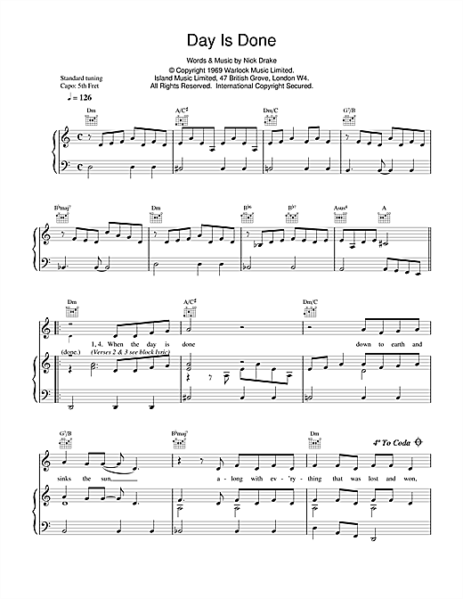 Nick Drake Day Is Done sheet music notes and chords. Download Printable PDF.