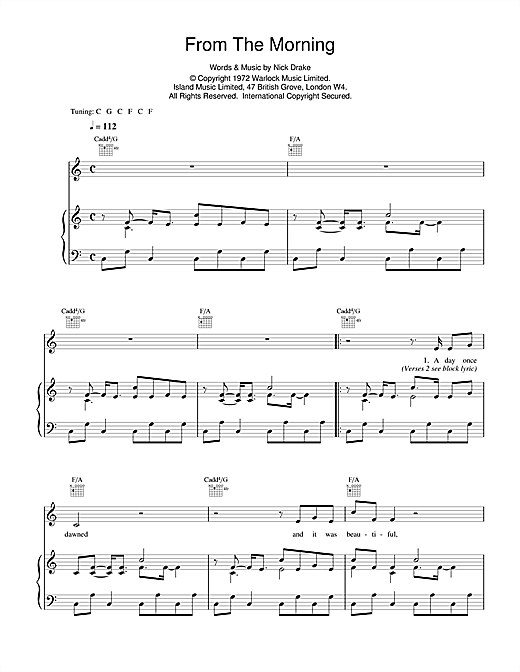 Nick Drake From The Morning sheet music notes and chords. Download Printable PDF.