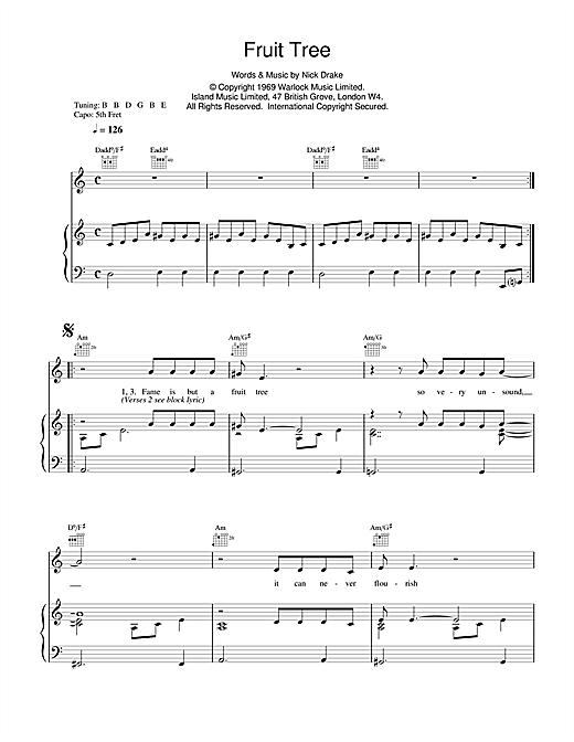 Nick Drake Fruit Tree sheet music notes and chords