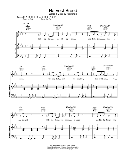 Nick Drake Harvest Breed sheet music notes and chords. Download Printable PDF.