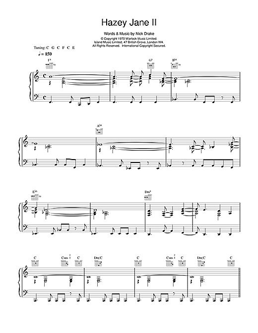 Nick Drake Hazey Jane II sheet music notes and chords