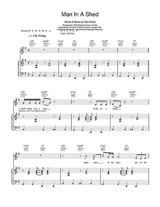 Nick Drake Man In A Shed sheet music notes and chords. Download Printable PDF.