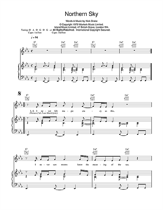 Nick Drake Northern Sky sheet music notes and chords. Download Printable PDF.