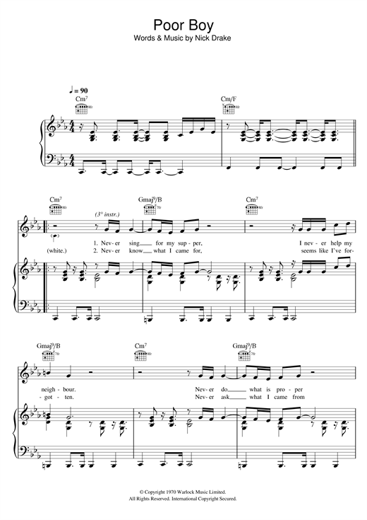Nick Drake Poor Boy sheet music notes and chords. Download Printable PDF.