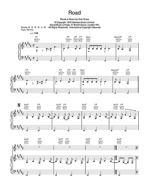 Nick Drake Road sheet music notes and chords