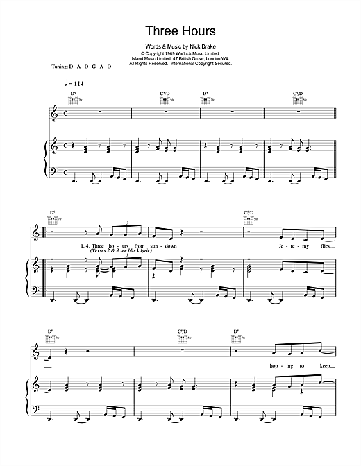 Nick Drake Three Hours sheet music notes and chords