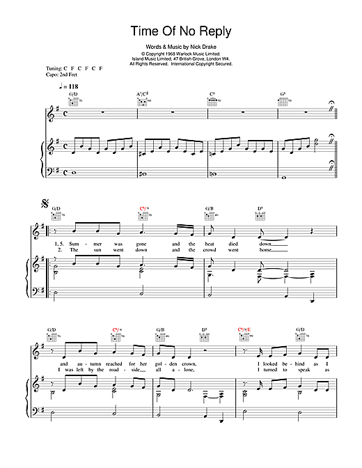 Nick Drake Time Of No Reply sheet music notes and chords. Download Printable PDF.