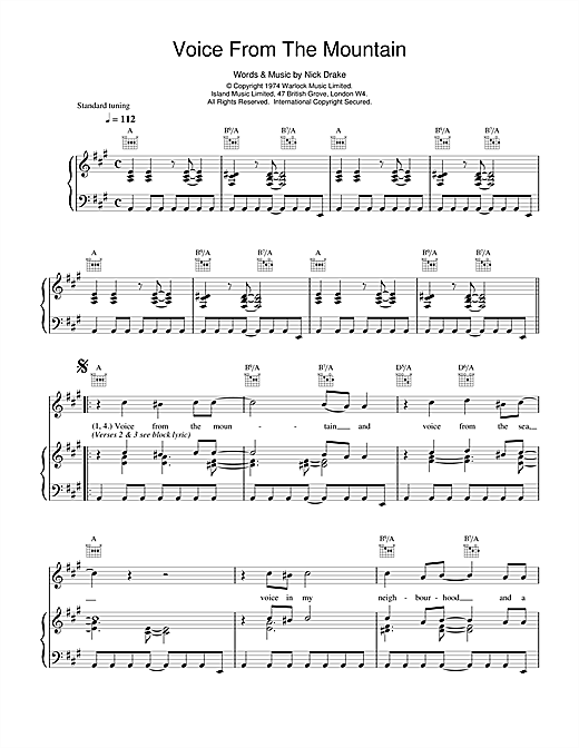 Nick Drake Voice From The Mountain Sheet Music Notes Chords Download Printable Piano Vocal Guitar Right Hand Melody Sku 14750