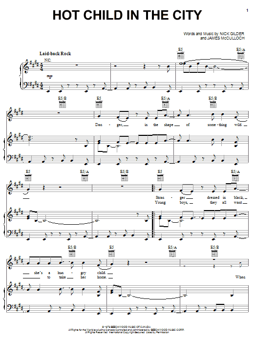 Nick Gilder Hot Child In The City sheet music notes and chords. Download Printable PDF.