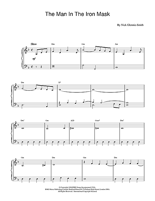 Nick Glennie-Smith The Man in the Iron Mask sheet music notes and chords. Download Printable PDF.
