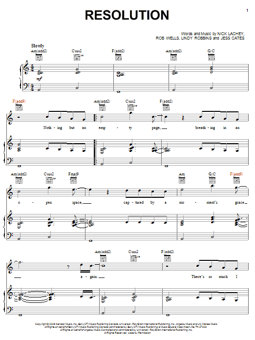 Nick Lachey Resolution sheet music notes and chords. Download Printable PDF.