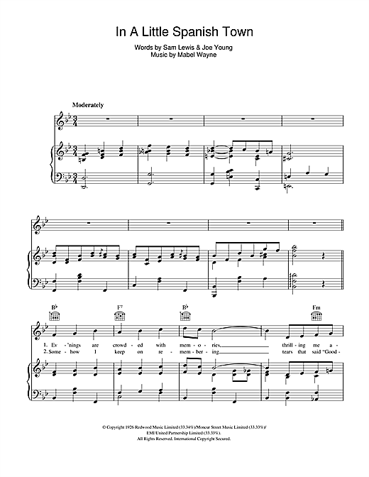 Nick Lucas In A Little Spanish Town ('Twas On A Night Like This) sheet music notes and chords. Download Printable PDF.