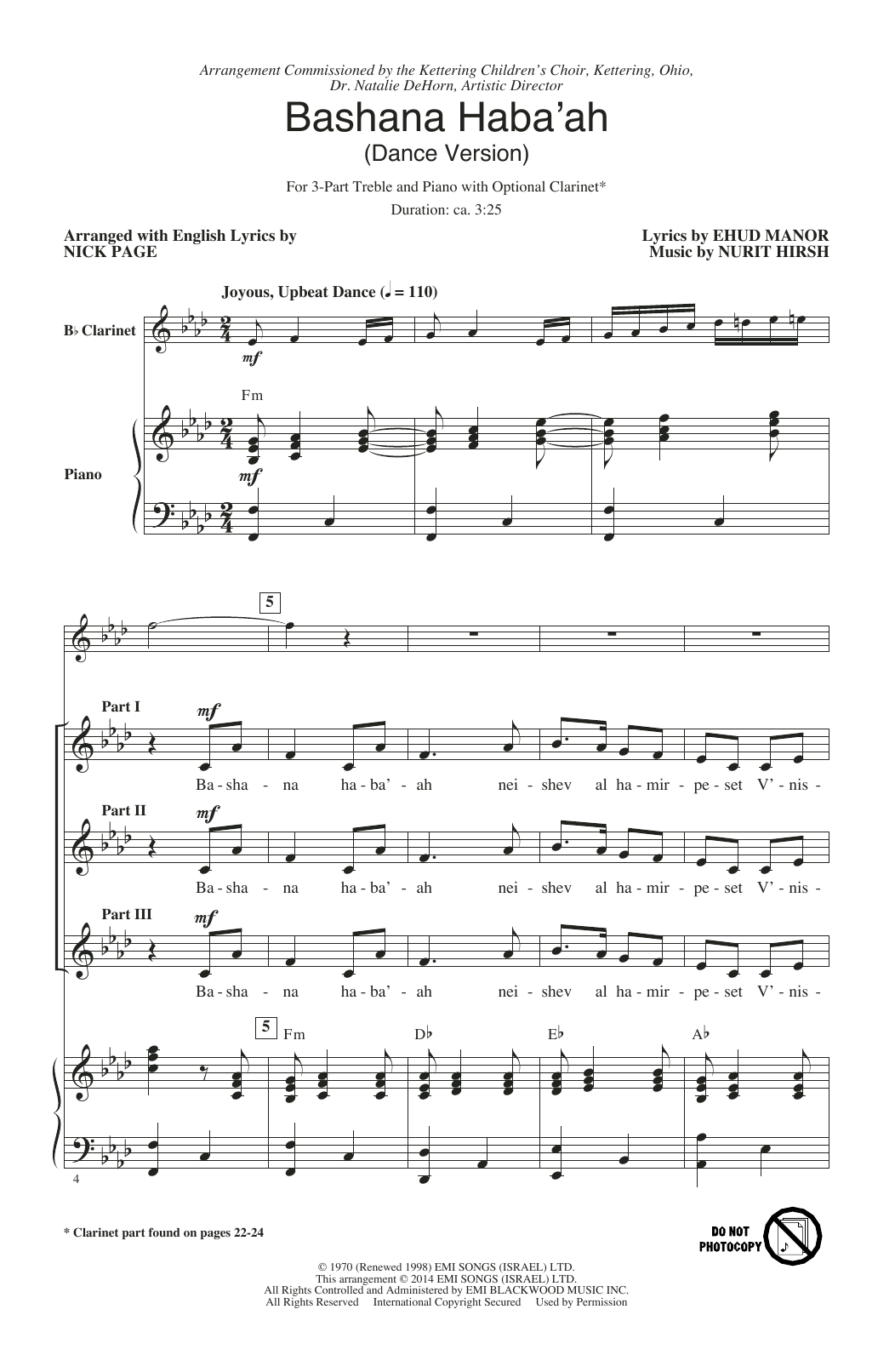 Nurit Hirsh Bashana Haba 'Ah (arr. Nick Page) sheet music notes and chords. Download Printable PDF.