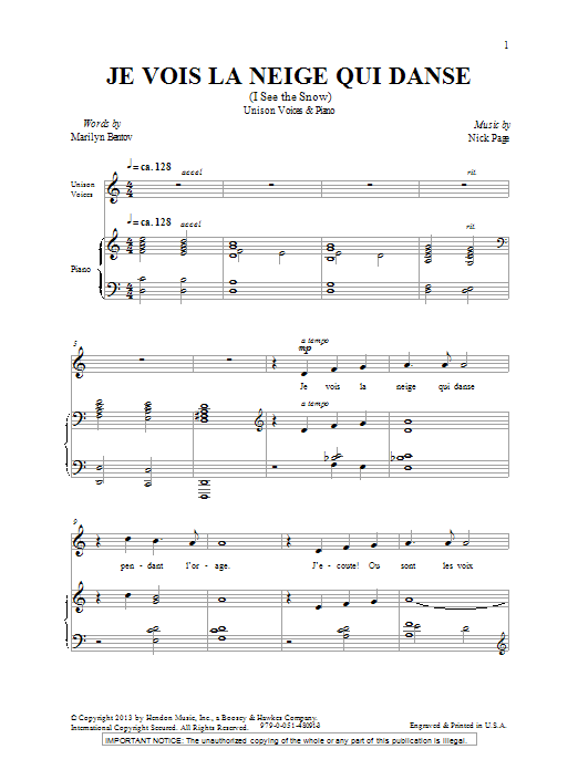 Nick Page Je Vois La Neige Qui Danse sheet music notes and chords