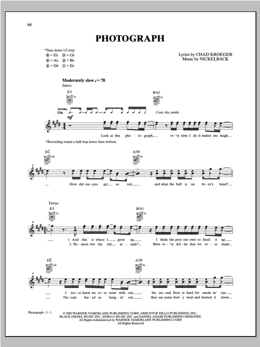 Nickelback Photograph sheet music notes and chords. Download Printable PDF.