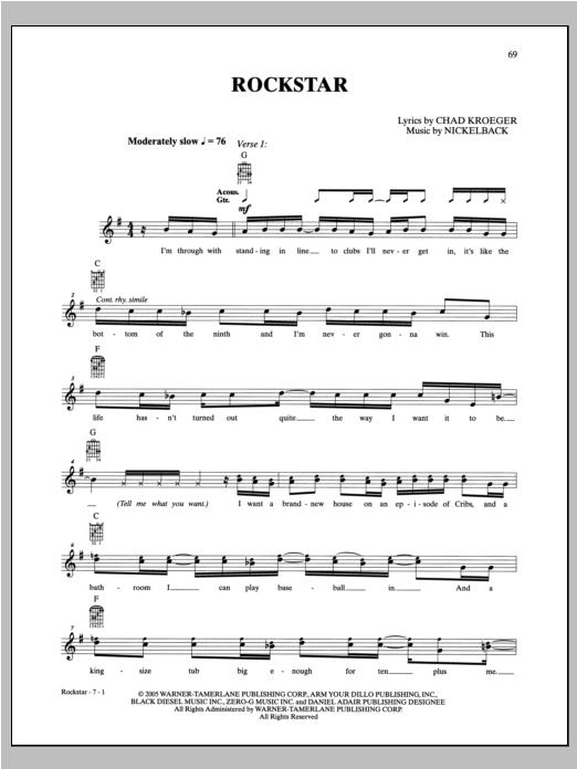 Nickelback Rockstar sheet music notes and chords. Download Printable PDF.