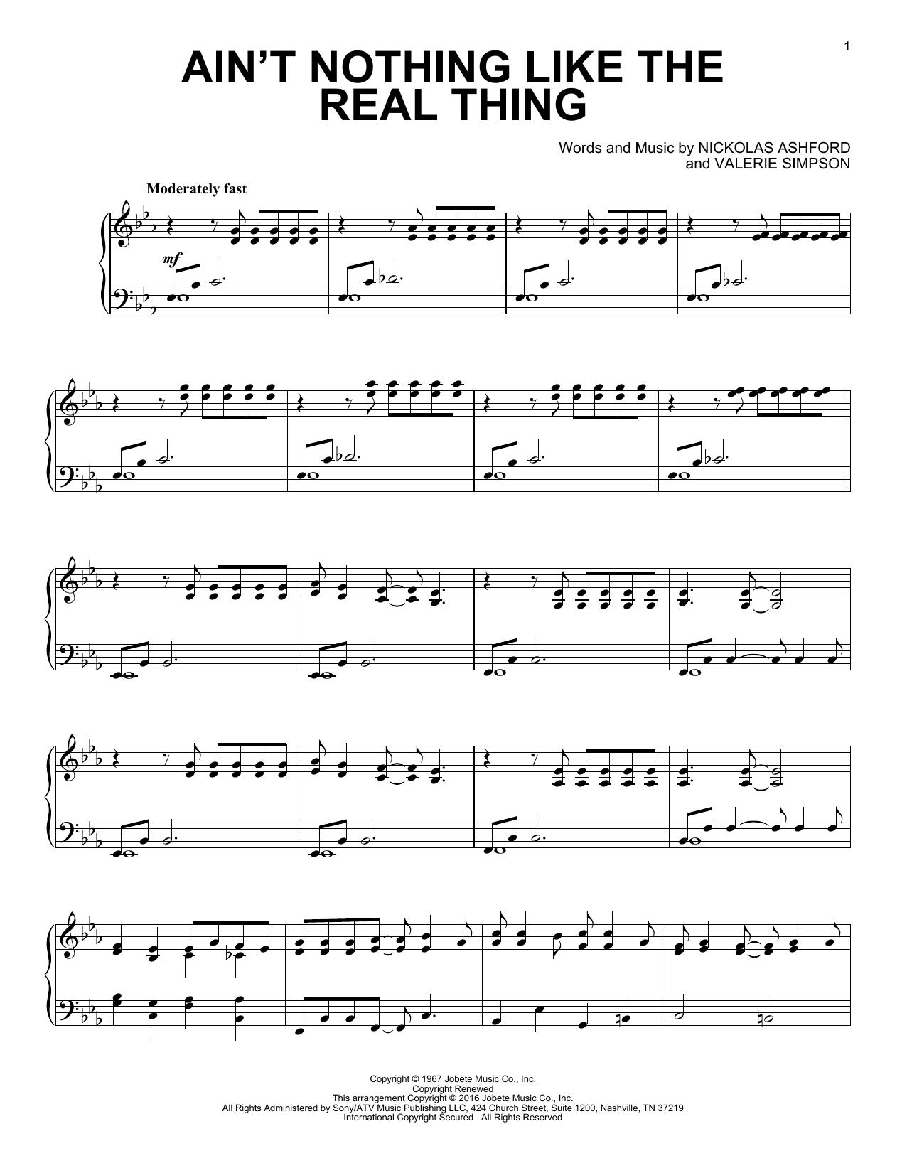 Nickolas Ashford Ain't Nothing Like The Real Thing [Jazz version] sheet music notes and chords. Download Printable PDF.