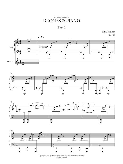 Nico Muhly Drones And Piano sheet music notes and chords