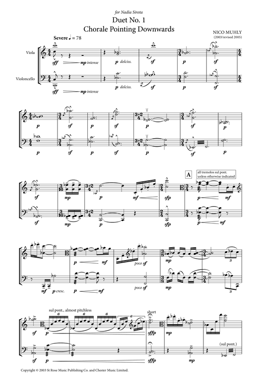Nico Muhly Duet No. 1 (Chorale Pointing Downwards) (for Viola and Cello) sheet music notes and chords