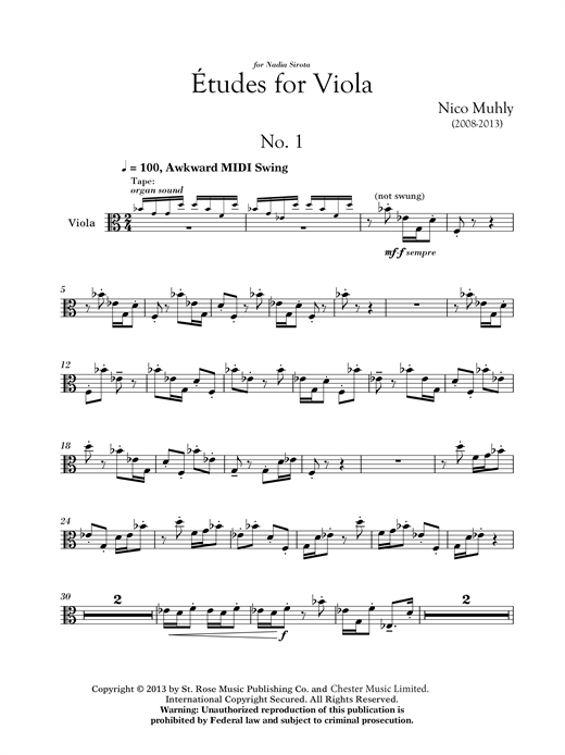 Nico Muhly Three Etudes For Viola sheet music notes and chords