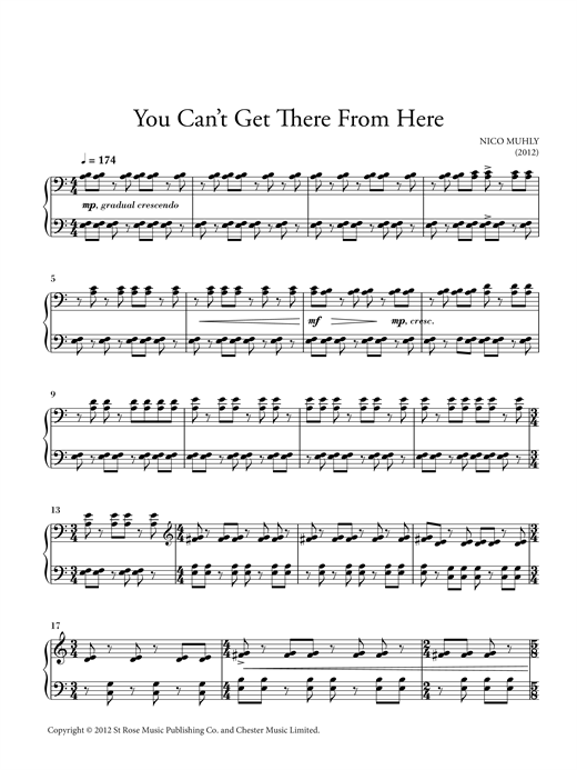 Nico Muhly You Can't Get There From Here sheet music notes and chords. Download Printable PDF.