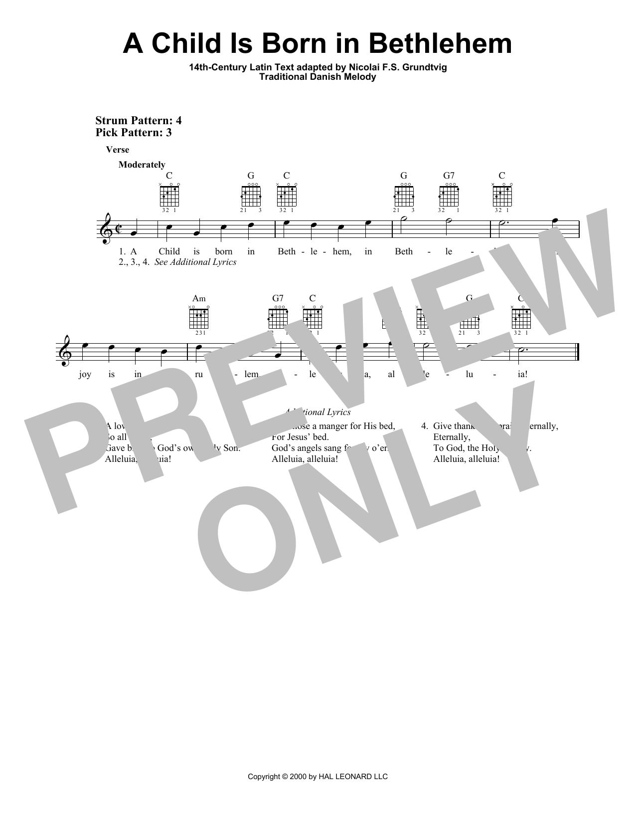 Traditional Danish Melody A Child Is Born In Bethlehem sheet music notes and chords. Download Printable PDF.