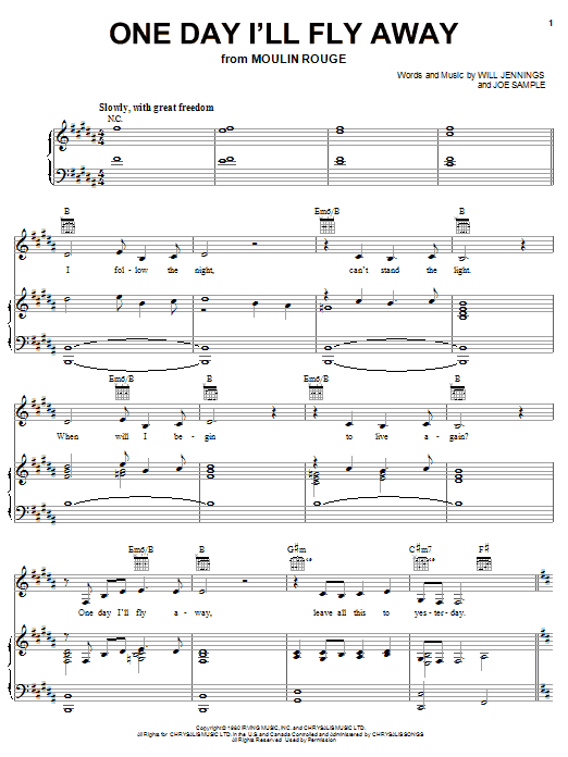 Nicole Kidman One Day I'll Fly Away (from Moulin Rouge) sheet music notes and chords