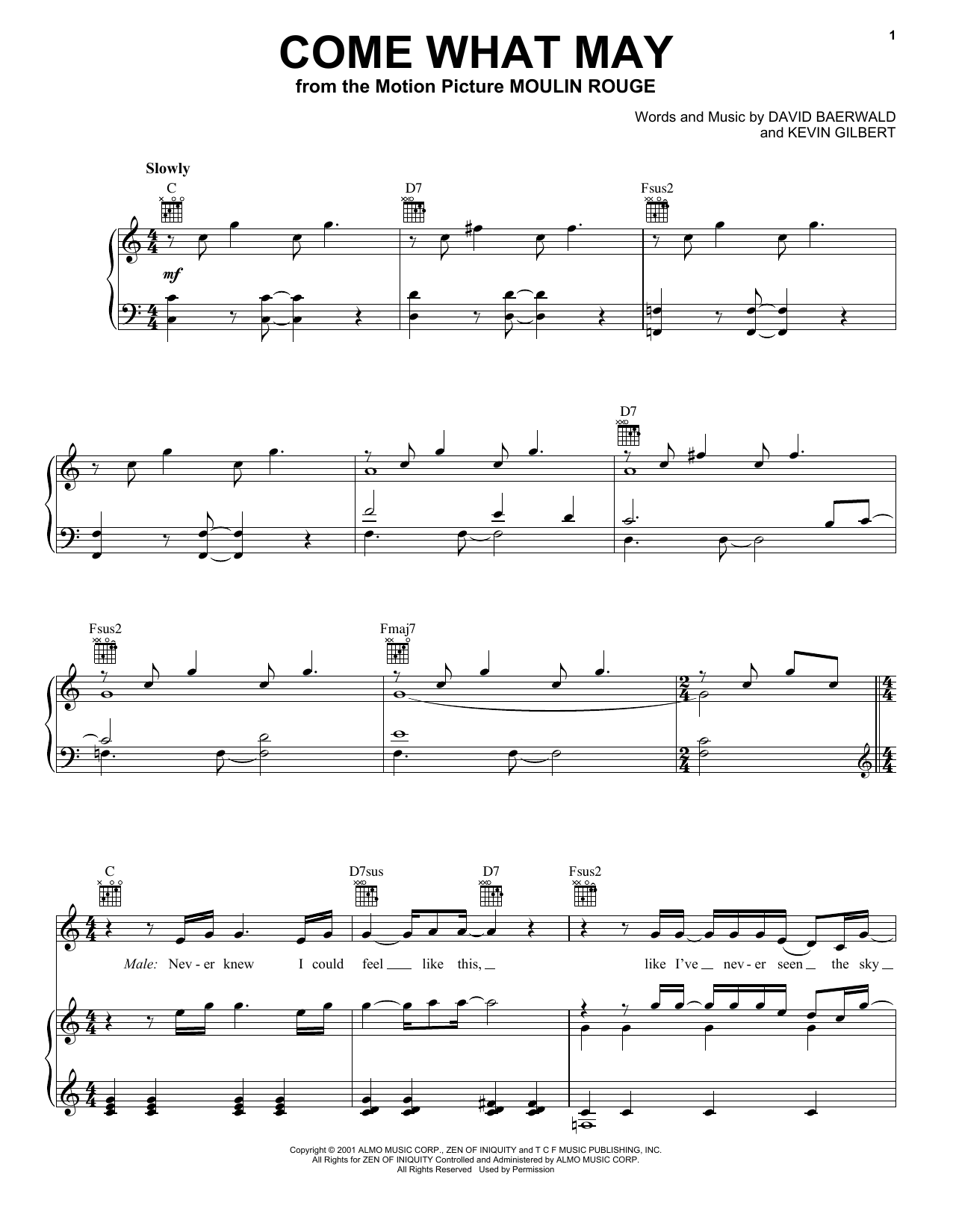 Nicole Kidman and Ewan McGregor Come What May sheet music notes and chords. Download Printable PDF.