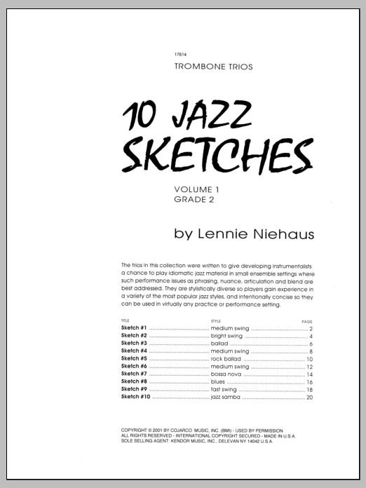 Niehaus 10 Jazz Sketches, Volume 1 sheet music notes and chords. Download Printable PDF.