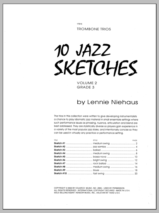Niehaus 10 Jazz Sketches, Volume 2 sheet music notes and chords