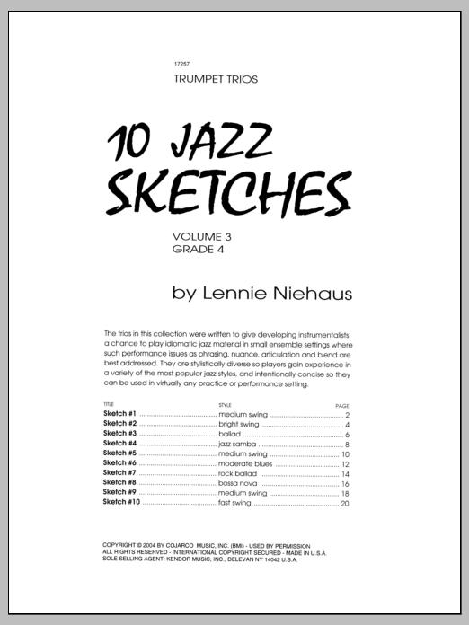 Niehaus 10 Jazz Sketches, Volume 3 sheet music notes and chords. Download Printable PDF.