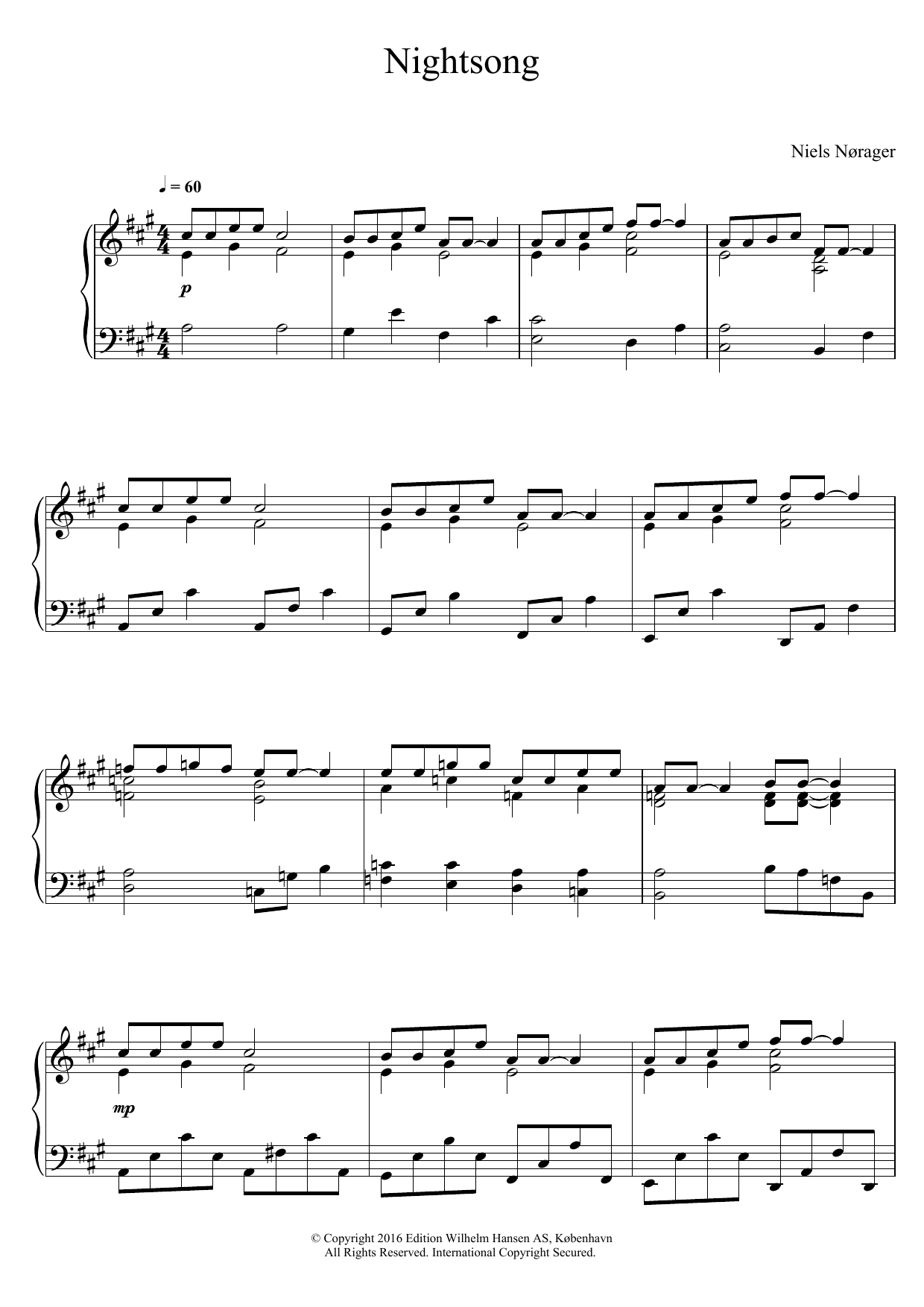 Niels Nørager Nightsong sheet music notes and chords. Download Printable PDF.