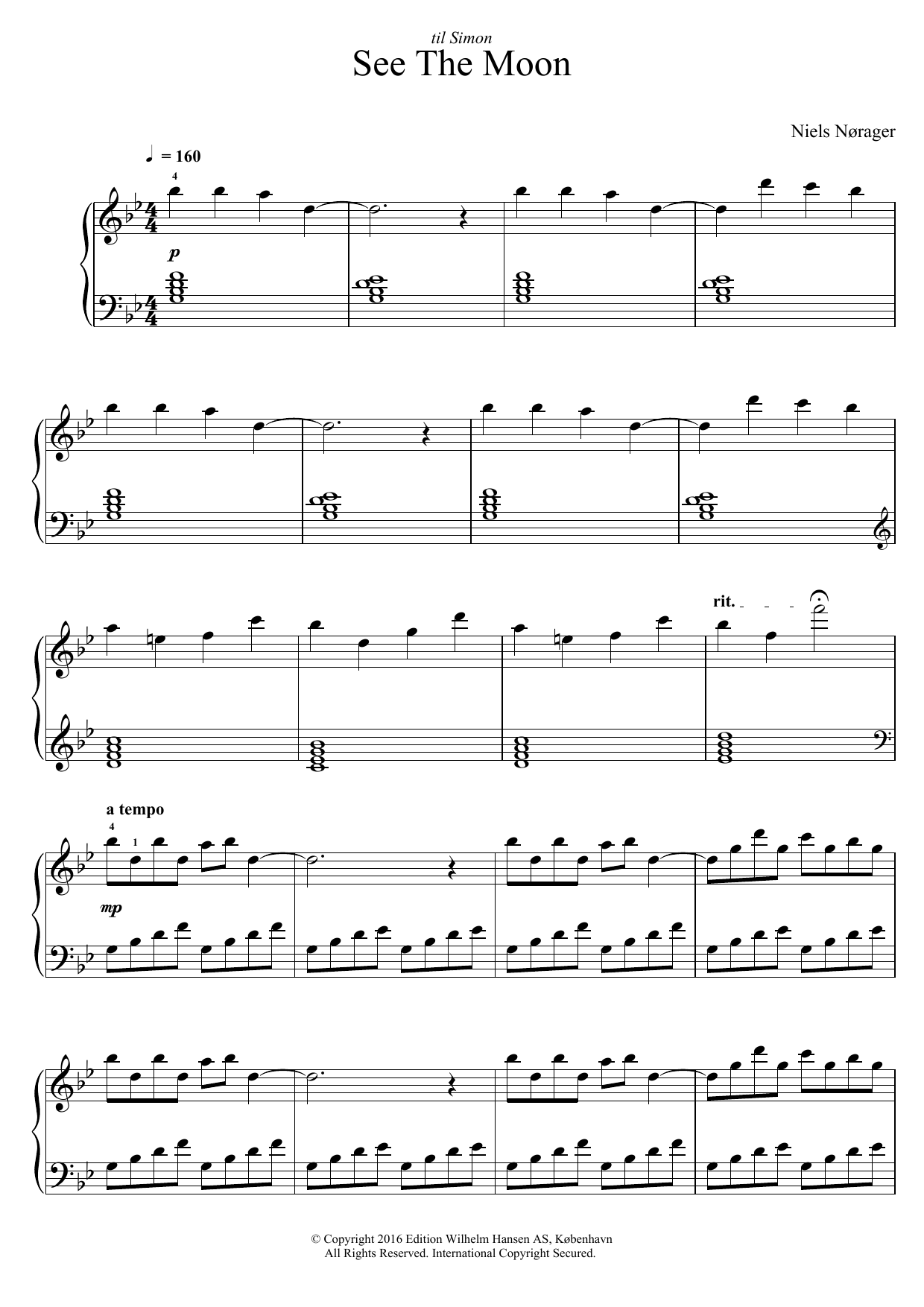 Niels Nørager See The Moon sheet music notes and chords. Download Printable PDF.