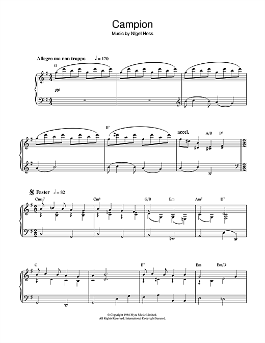 Nigel Hess Campion (Theme from the BBC TV series) sheet music notes and chords. Download Printable PDF.