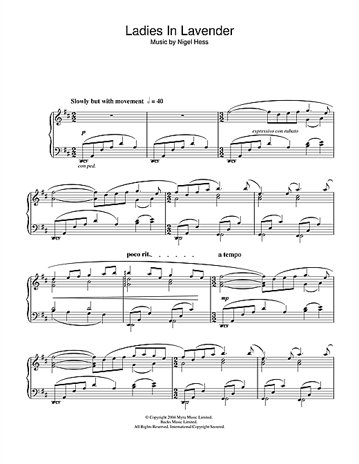 Nigel Hess Ladies In Lavender sheet music notes and chords. Download Printable PDF.