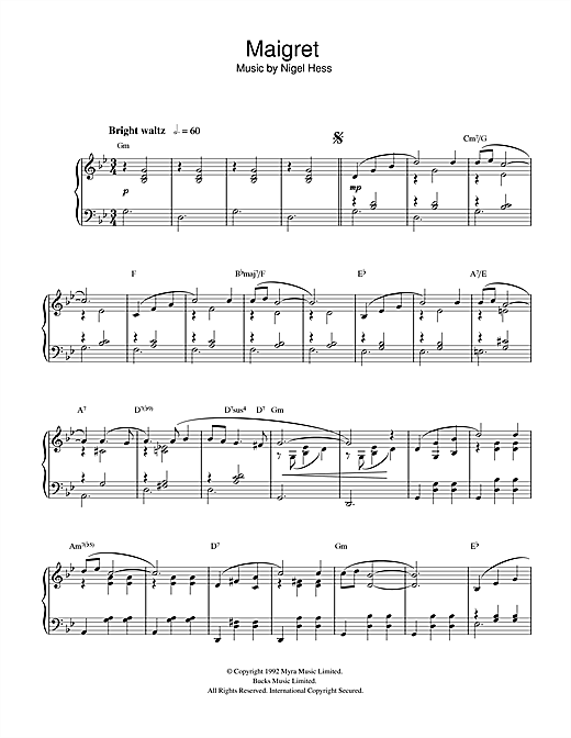 Nigel Hess Maigret sheet music notes and chords. Download Printable PDF.