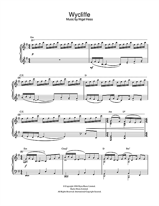 Nigel Hess Theme from Wycliffe sheet music notes and chords. Download Printable PDF.