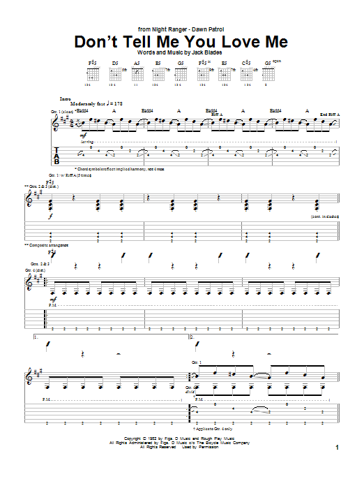 Night Ranger Don't Tell Me You Love Me sheet music notes and chords. Download Printable PDF.