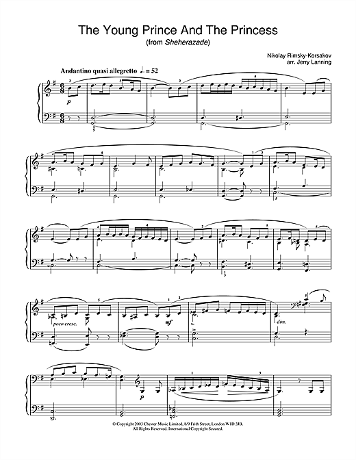 Nikolai Rimsky-Korsakov The Young Prince And The Princess (from Scheherazade) sheet music notes and chords. Download Printable PDF.